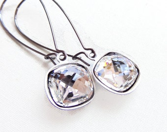 Clear Crystal Drop Earrings on Gunmetal - designed with SWAROVSKI® Crystals
