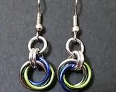 Seahawks inspired mobius earrings