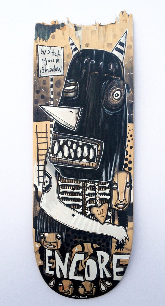 Magi Encore - Original Art on Broken Skatedeck
