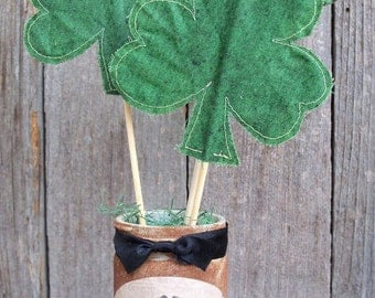 A Jar of Shamrocks, St Patricks Day decoration, Irish Blessing, Green, Country, Rustic, Luck, Holiday