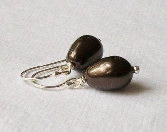 Brown Pearl Drop Earrings