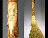 Carved Fireplace Broom in your choice of Natural, Black, Rust or Mixed Broomcorn