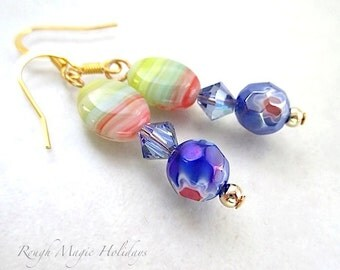 Easter Egg Earrings, MultiColor Dangles, Colorful Boho Jewelry, Bright Spring Color, Millefiori Flower Drops, Czech Glass, Swarovski Crystal