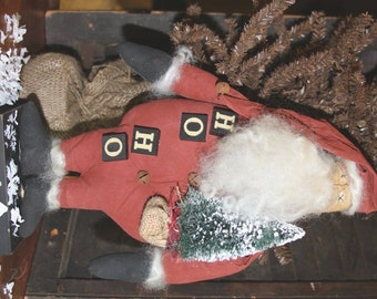 Primitive Santa Pattern Digital E Pattern Instant Download Ho Ho Santa Folk Art Holiday