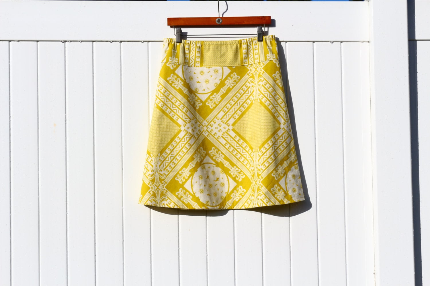 vintage yellow and a line skirt simple a line skirt