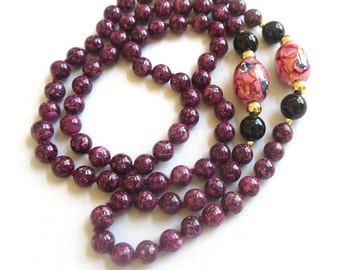 Vintage Cranberry-Purple Polished Agate, Onyx, and Art Beads, Beaded Necklace