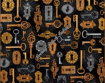 "Robert Kaufman ""Time Machine"" Vintage Skeleton Keys Steampunk Cotton Fabric 1/2 Yard 18"" x 44"""