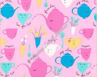 "Free Spirit ""Tea Party"" Teacups Sayings #DWFO Cotton Fabric 1/2 Yd. 18"" x 44"" Pink"