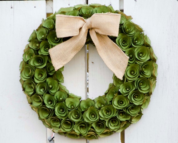 Green Wood Curl Wreath Wreath, St. Patricks Day wreath, spring wreath,  green wreath, leaf wreath, salal wreath, preserved wreath