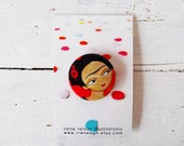 Red Frida pin, illustrated button brooch