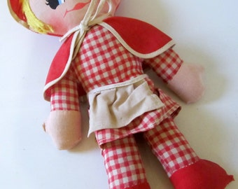 Vintage Little Red Riding Hood Soft Pillow Fabric Stuffed Doll Hong Kong Ronald Trading