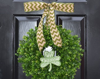 Shamrock Boxwood St Patrick Day Wreath, St Pattys Decor- Green Boxwood Wreath- Irish Decor- Door Wreath- Removable Bow Year Round Wreath