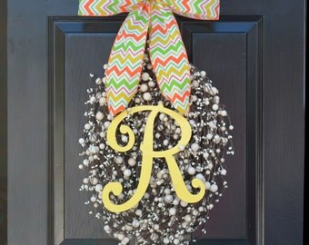 Easter Wreath- Easter Decoration- Spring Wreath Easter Egg- Spring Decor- Spring Decoration- Monogram Wreath