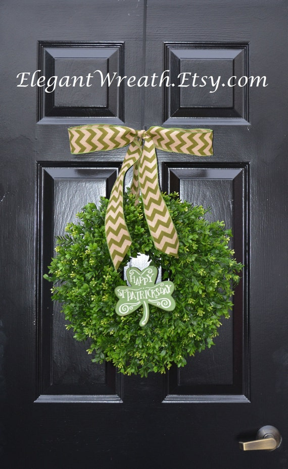 Shamrock Boxwood St Patrick Day Wreath, St Pattys Decor- Green Boxwood Wreath- Irish Decor- Door Wreath- Removable Bow Year Round Wreath