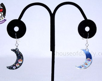 Crescent Moon earrings with Swarovski crystal accents nickel-free