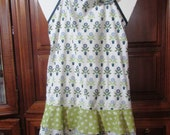 Frilly Apron / Ruffled Apron / flower pot print / blue green