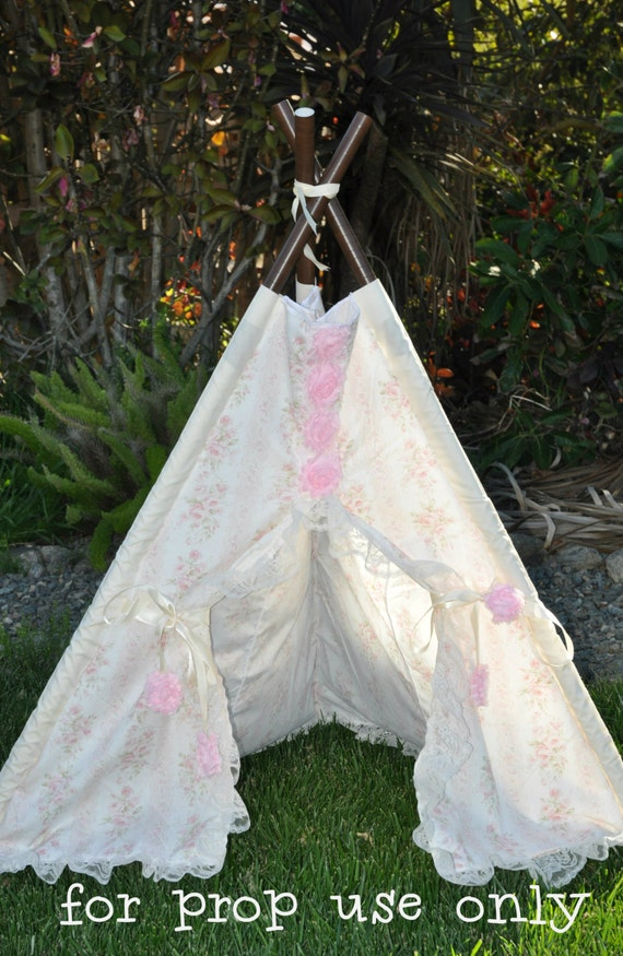 teepee tent play tent photo prop rose by sugarshacksteepee. Black Bedroom Furniture Sets. Home Design Ideas