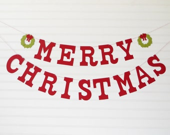 Merry Christmas Decoration - 5 inch Letters with Wreath - Christmas Banner Christmas Home Decoration Holiday Banner Christmas Garland Sign