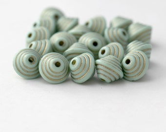 Mint Green and Gold Layered Bicone Acrylic Beads 14mm (20)