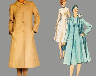 1970s One piece Dress and coat pattern Vogue Paris Original 1356 by Molyneux Jewel neckline Slightly flared lined coat Bust 36 Size 14