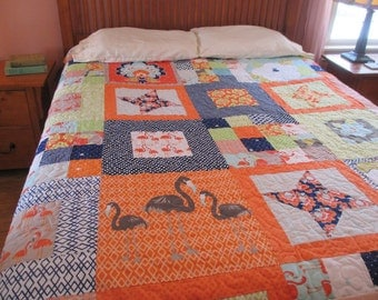 Queen Size Quilt Modern Patchwork Quilt Multi Color Bed Quilt