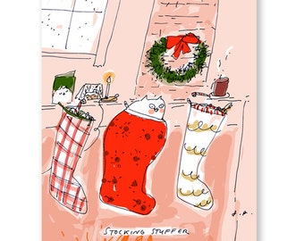 Stocking Stuffer- Funny Christmas Card- Cat Card