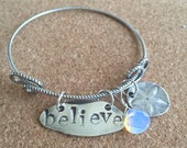 Recycled Fine Silver Believe Bracelet with moonstone and sand dollar pendants, free shipping