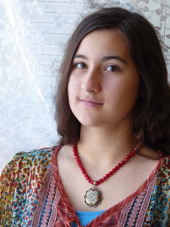 Nepal Necklace, Tibet Necklace with Mandala Pendant, Tibetan Mandala, Turquoise and Coral  Mandala, Handmade Nepal Jewelry by AnnaArt72