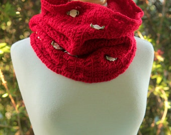Cherry on Top - Cozy Crochet Cowl - Bright Red Neck Warmer
