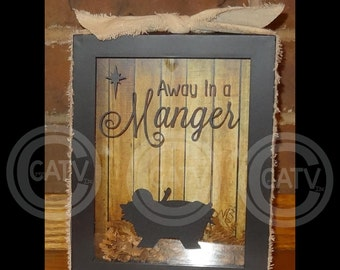 Set of 2- DIY Christmas Shadow Box (Vinyl Only) Away in a Manger with baby Jesus vinyl decal sticker gift idea super saturday craft