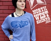SALE! --Women's Cuttlefish Blue Triblend Crew Sweatshirt