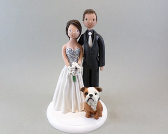 Customized Wedding Cake Topper Bride & Groom with a Dog