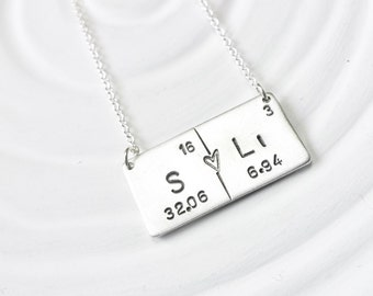 Periodic Table Element Necklace - Couple's Necklace - Hand Stamped, Personalized Jewelry - Bar Necklace - Science Gift -Geek Gift