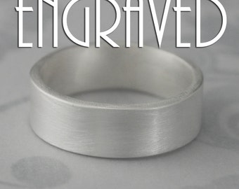 The Straight and Narrow Ultra Wide Band-Personalized Custom Inside Engraving-7mm wide Flat Edge Solid Sterling Silver Band-Made in YOUR size