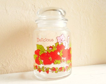 Cute Vintage Strawberry Shortcake Glass Jar with Lid Delicious Kitten