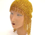 Vintage Headdress 1920s Gatsby Headdress Flapper Headdress Bohemian Headdress Gold Headdress Bead Headdress Flapper Headpiece Gold Headpiece