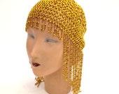 Vintage Headdress 1920s Gatsby Headdress Flapper Headdress Bohemian Headdress Gold Headdress Bead Headdress Flapper Headpiece Gold Headpiece