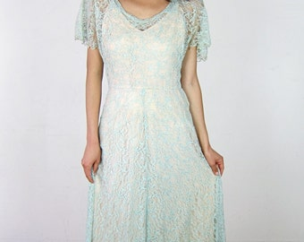 Delicate Green 1930's Lace Gown