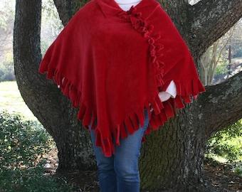 Ruby Red Mink Fleece Poncho - Handmade Luxury