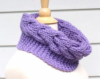 Knit cable cowl pattern - knit circle scarf pattern - horseshoe cable pattern - knit neckwarmer pattern - infinity scarf pattern