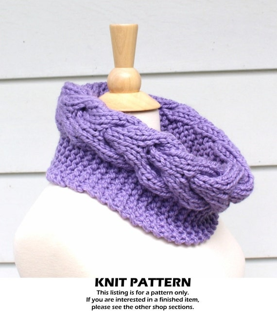 Knit cable cowl pattern knit circle scarf pattern