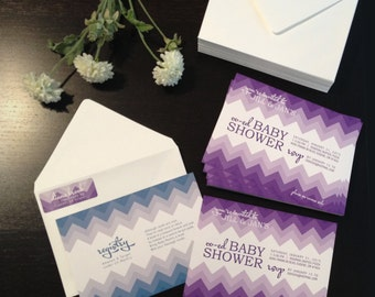 NEW SAMPLE: Chevron Baby Shower Invitations, Return Address Labels, and Envelopes, Customize Colors, Purple and Teal