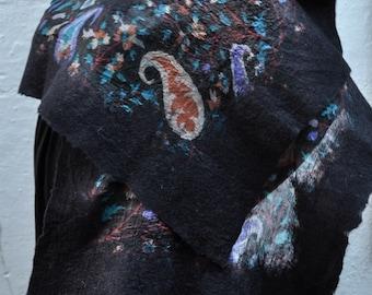 Wool Shawl Felted on Silk , Black Wool and Silk Shawl