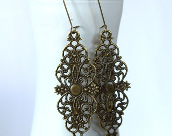 Long Boho Earrings Bronze Filigree Earrings Antique Victorian Earrings Bohemian Earrings Hippie Earrings Lace Earrings Bridesmaid Earrings