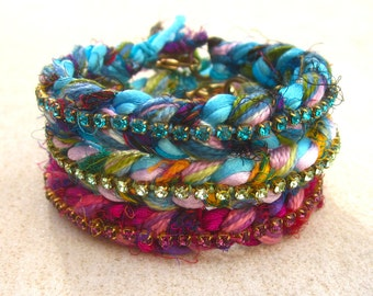 Swarovski crystal friendship bracelet with sari silk, rhinestone friendship bracelet, bohemian bangle bracelet, crystal ethnic cuff bracelet