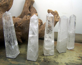 Quartz Crystal obelisk - natural polished prism point -  2 to 4 inch wire wrap wand piece display - clear white point flat bottom tower