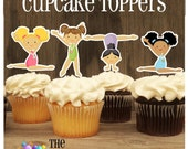 Gym Girls Party - Set of 12 Assorted Gymnast Cupcake Toppers by The Birthday House