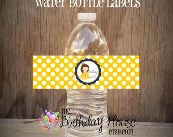 Belle & Friends Party - Set of 12 Beauty and Beast Water Bottle Labels by The Birthday House