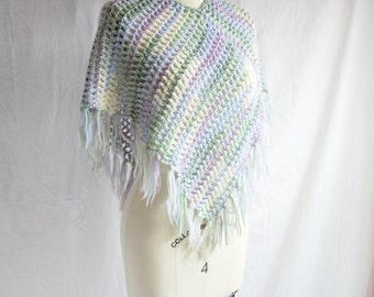 Pastel Poncho Crocheted with Soft Yarn and Fringe - Lavendar, Yellow, Green, Blue - Festival Poncho