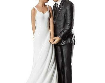 Wedding Bliss African American Wedding Cake Topper Figurine - Custom Painted Hair Color Available - 707566